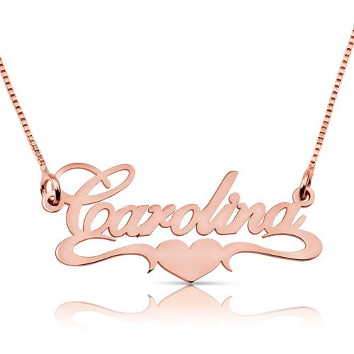 rose gold plated middle heart name necklace