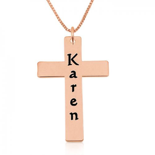 personalized cross necklace in rose gold plating