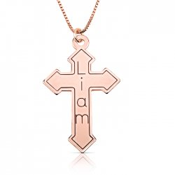 engraved cross necklace in rose gold plating