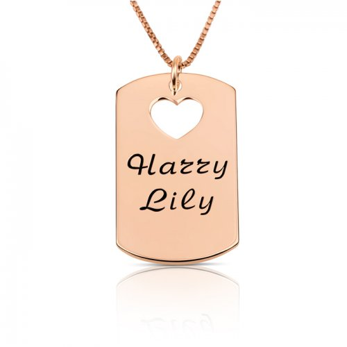 rose gold plated dog tag necklace with two names & heart