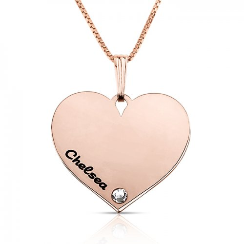 Dainty engraved heart necklace in rose gold plating & swarovski