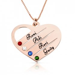 mom/grandma necklace with kids names engraved & swarovski birthstones  in rose gold plating