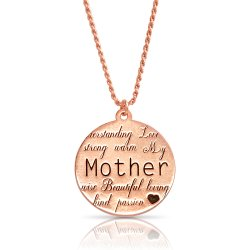 engraved disc necklace for mom in rose gold plating