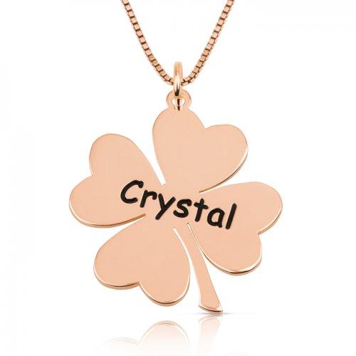 Engraved clover necklace in rose gold plating