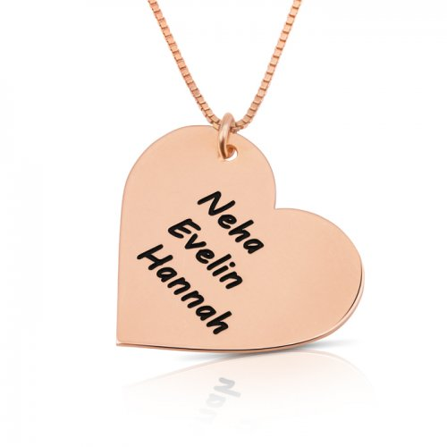 engraved  heart necklace with kids names in rose gold plating