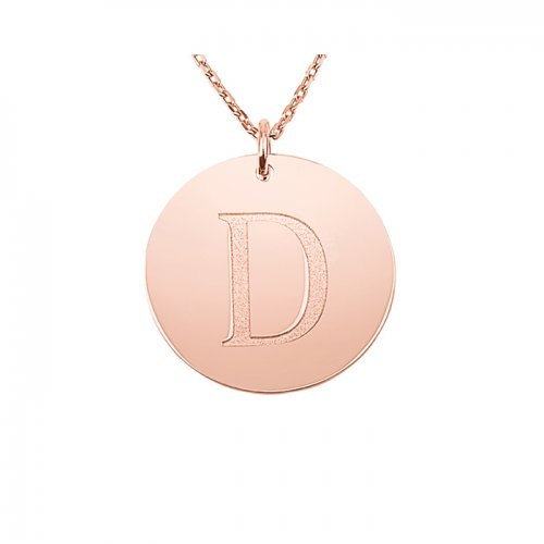 rose gold plated disc pendant with initial letter