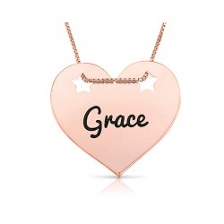 engraved heart pendant with stars in rose gold plating