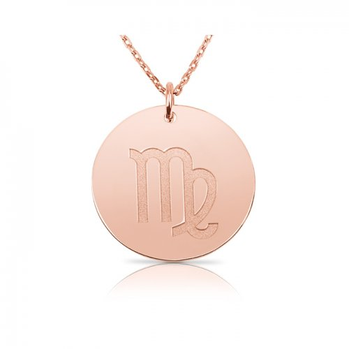 zodiac necklace in sterling silver with rose gold plating :Virgo