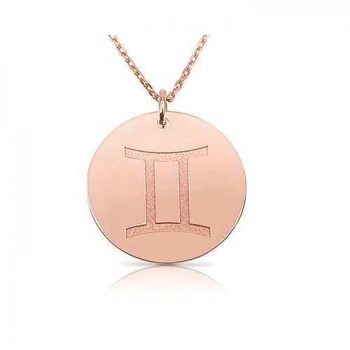 zodiac necklace in sterling silver with rose gold plating :Gemini