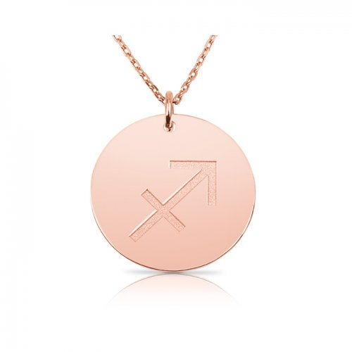 zodiac necklace in sterling silver with rose gold plating : Sagittarius
