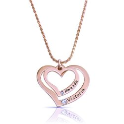 2 Hearts Necklace Engraved With 2 Names & Swarovski Birthstones in rose gold plating