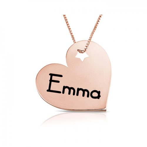 personalized engraved heart pendant with a star in rose gold plating