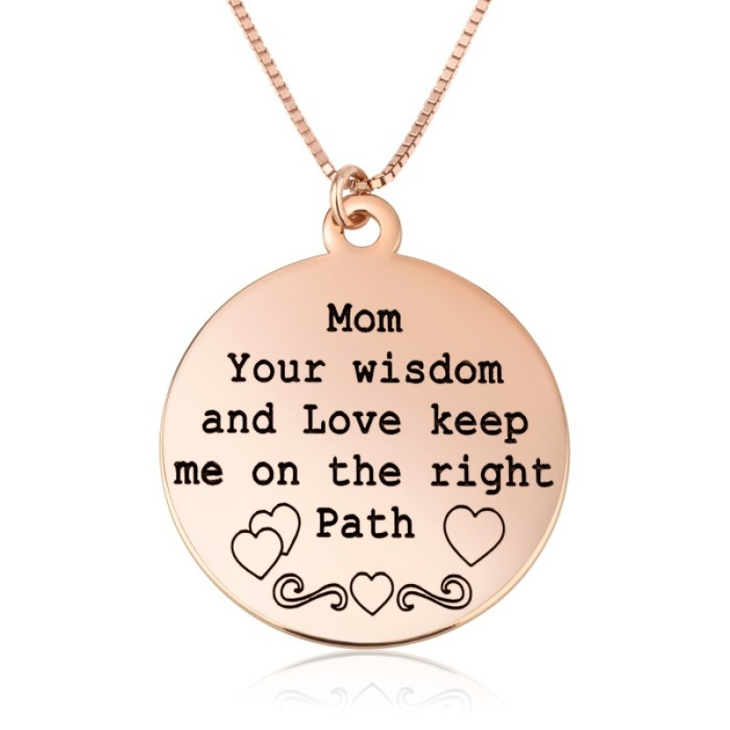 engraved disc necklace for mother in rose gold plated silver