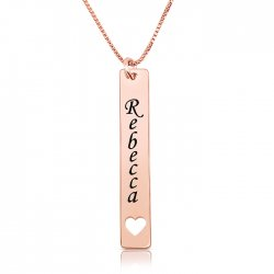 vertical bar necklace with name and heart in rose gold plated silver