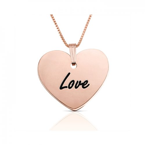 engraved heart pendant in rose gold plated silver