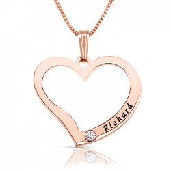 Engraved Heart Necklace With Swarovski Birthstone in rose gold plating