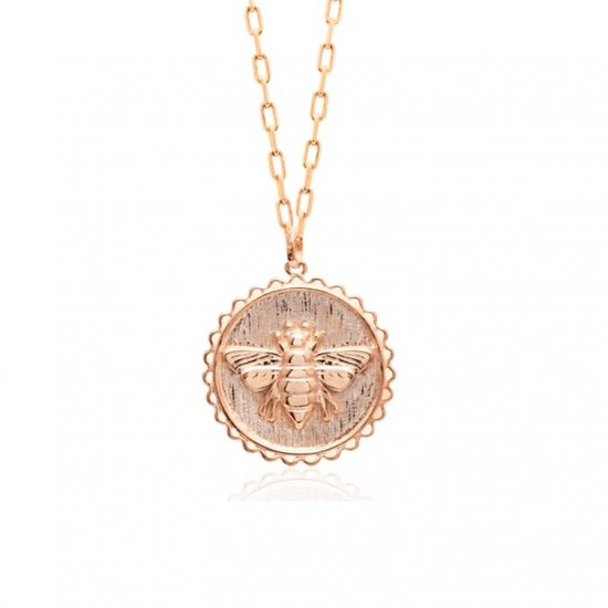 bee pendant necklace -18k rose gold plated