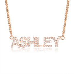diamond name necklace - rose gold plated
