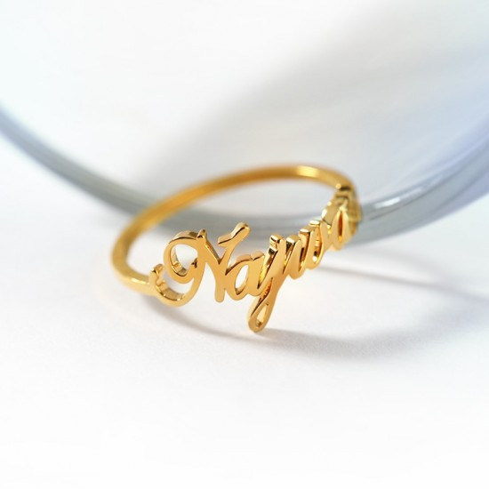 script name ring 18k gold plated