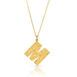 initial pendant necklace in 18k gold plating - retro style