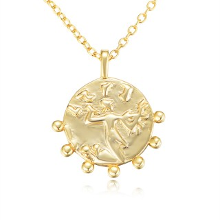 Gold plated Greek coin necklace