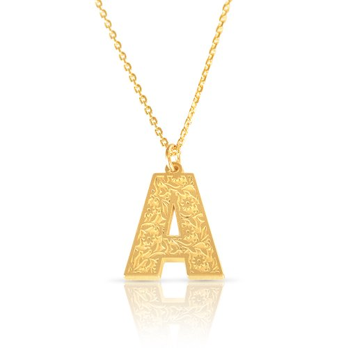 Initial pendant necklace in 18k gold plating - retro style   ( letter A )