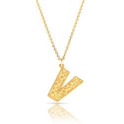 Initial Pendant Necklace In 18k Gold Plating - Retro Style ( Letter V )