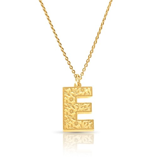 Initial Pendant Necklace In 18k Gold Plating - Retro Style ( Letter E )
