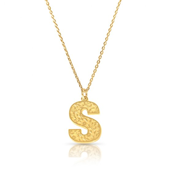 Initial Pendant Necklace In 18k Gold Plating - Retro Style ( Letter S )