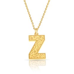 Initial Pendant Necklace In 18k Gold Plating - Retro Style ( Letter Z )