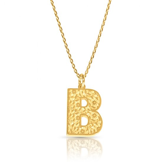 initial pendant necklace in 18k gold plating - retro style   ( letter B )