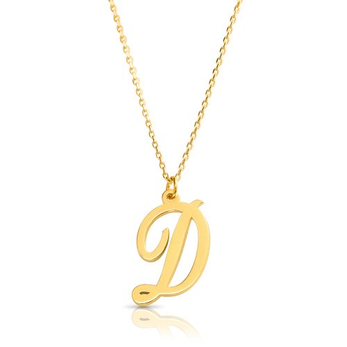 18k gold plated initial necklace (letter D)