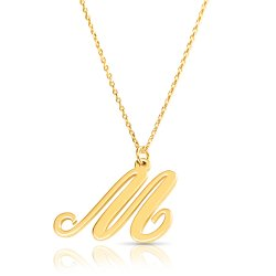 18k gold plated initial necklace (letter M)