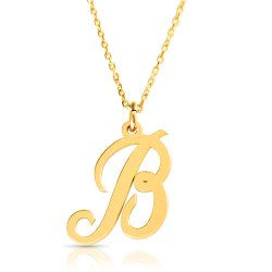 18k gold plated initial necklace (letter B)