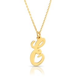 18k gold plated initial necklace (letter E)