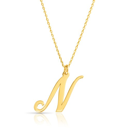 18k gold plated initial necklace (letter N)