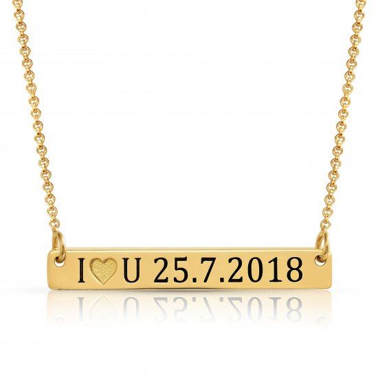 Numeral bar necklace for couples in 18k gold plating