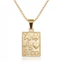 18k gold Gold plated rectangle coin necklace
