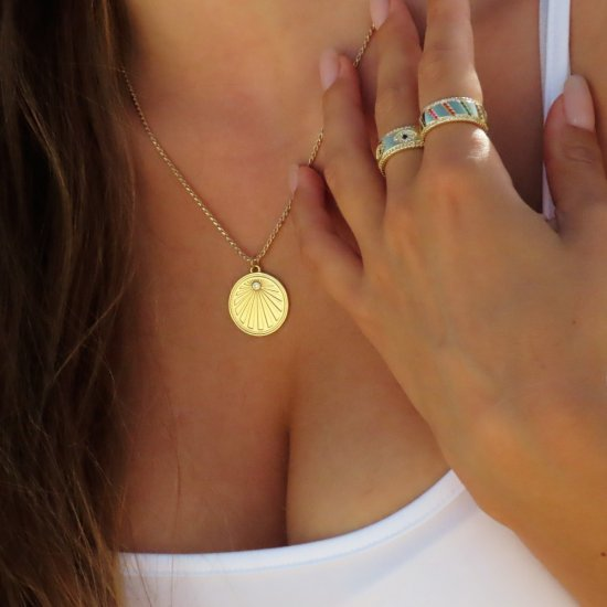 sunrise  pendant necklace in gold plating