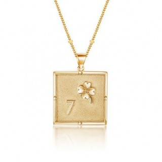 Square coin necklace in 18k gold plating