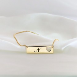 personalized heart bar necklace - 18k gold plated