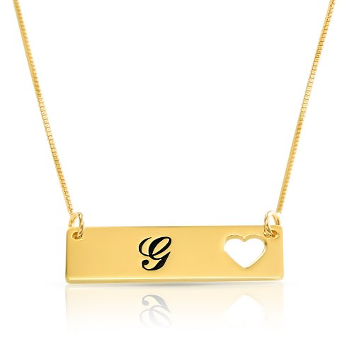 gold plated heart bar necklace with a letter