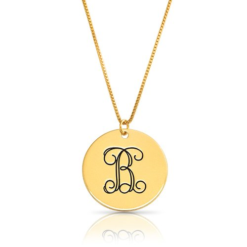 Monogram disc necklace in 18k gold plating