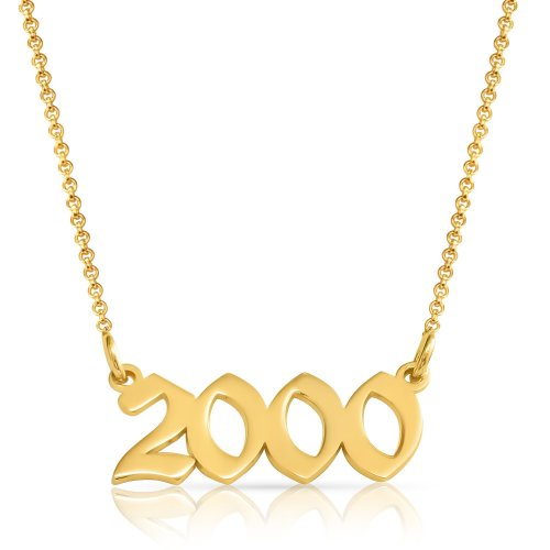 Year necklace - 18k gold plated silver
