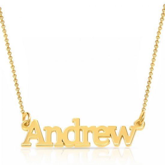 18k gold plated silver name necklace for man