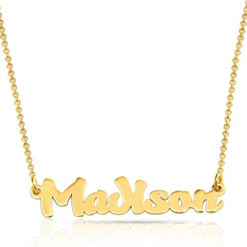 special font name necklace in 18k gold plating