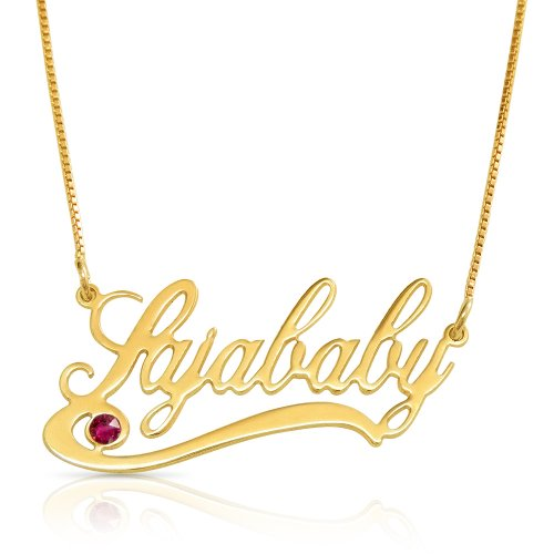 handwriting name necklace with underline and swarovski birthstone