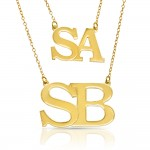 large initial letters necklace - 18k gold plated