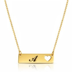 engraved heart bar necklace in gold plating