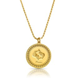 gold plated zodiac pendant : pisces